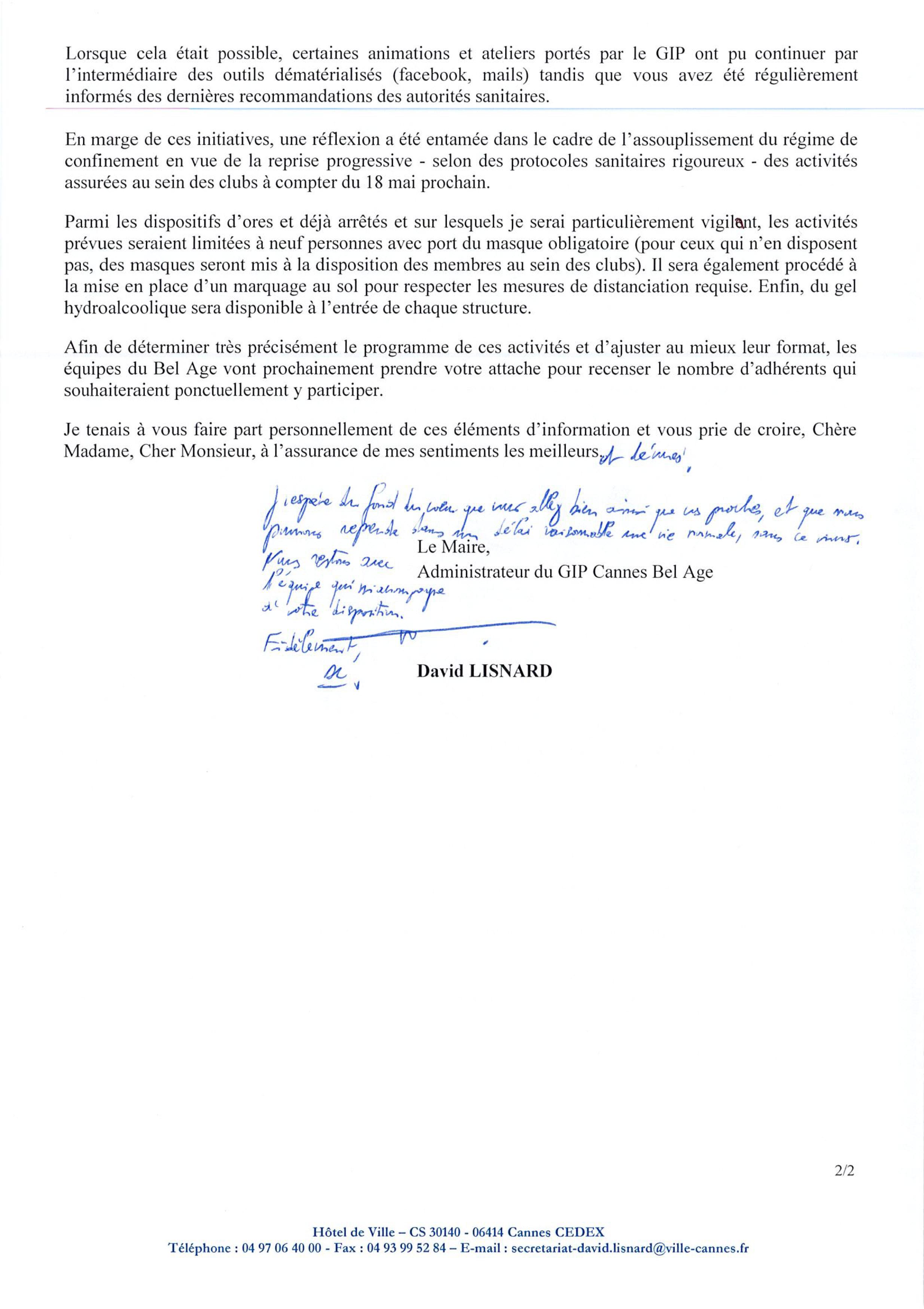 Courrier Maire de Cannes page 2